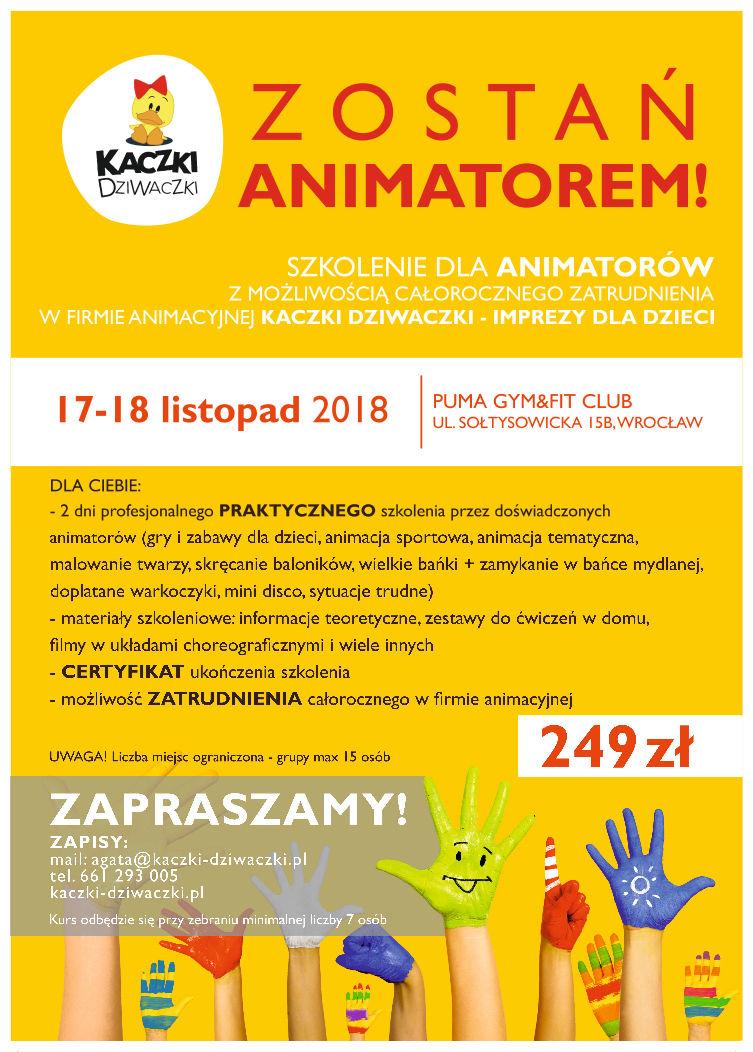 plakat szkoleniowy - Szkolenia dla animatorów